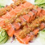 Raw salmon mixed with fish sauce