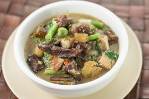 Beef jerkey laotian stew with mix vegetables