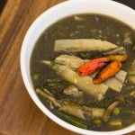 Laotian bamboo shoots soup with yanang leaves