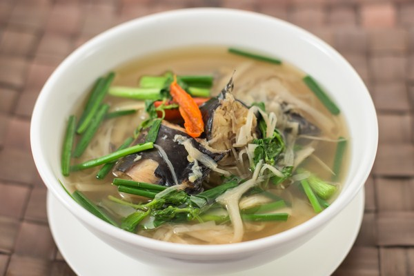 Sweet and sour organic catfish soup