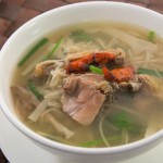 Free rang chicken with sour bamboo soup